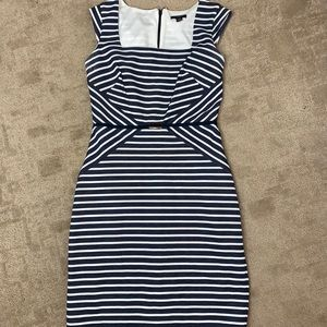 Ann Taylor Navy Striped Belted Sheath Dress